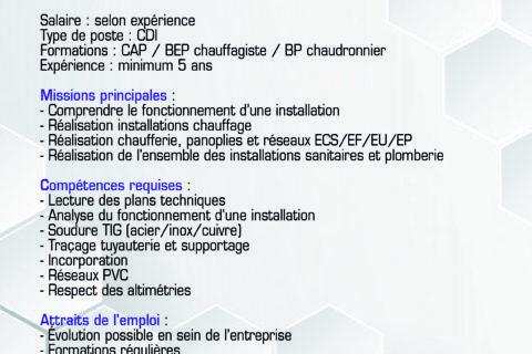CISEPZ RECRUTE : Chargé d'affaires CVC / Technicien de maintenance / Directeur opérationnel Cisepz.A / Plombier-chauffagiste / Dessinateur-projeteur CVC / Technicien froid